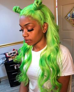 Preferred Human Hair Green Body Wave Lace Front Wigs for Women Lace Front Wigs, Lace Wigs, Hair Inspo, Hair Inspiration, Curly Hair Styles, Natural Hair Styles, Body Wave Wig, Hair Laid, Green Hair
