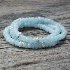 Aquamarine Sterling Bead Bracelet / Sky Blue Natural by byjodi