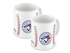 - White Baseball Sublimated Ceramic Mug Set - Toronto Blue Jays Coffee Mug Sets, Mugs Set, Sports Merchandise, Toronto Blue Jays, Making Ideas, Monogram, Ceramics, Baseball, Tableware