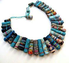 Turquoise Frida Kahlo fiber necklace ethnic Frida by Gilgulim (Diy Necklace Metal) Fiber Art Jewelry, Textile Jewelry, Fabric Jewelry, Jewelry Art, Jewelry Design, Fashion Jewelry, Fabric Beads, Paper Beads, Fabric Art
