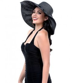Here comes the sun, darlings! A sensational black woven summer floppy with a wide pleated brim. Featuring an elastic ban...Price - $18.00-cbFpi8T2
