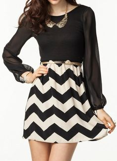 Chevron Skirt with beautiful flowy black shirt.  <3   Love the small bib necklace with it.