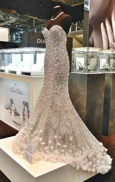 Imagine walking down the aisle in a Swarovski encrusted wedding gown. That would surely be the talk of the year or decade!