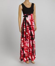 Another great find on #zulily! Black & Fuchsia Tie-Dye Tie-Waist Maxi Dress #zulilyfinds