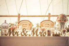 """Mr and Mrs signs for the wedding sweetheart table are freestanding in a script font; our signs are extra stable at 1"""" thick which means they will not fall over. These Mr & Mrs wedding signs are great                                                                                                                                                                                  More"""