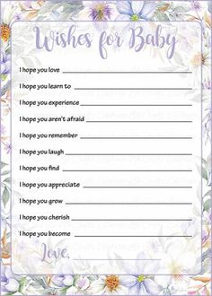 Wishes for Baby Shower Activity - Spring Baby Shower Theme for Baby Girl - Pink Floral – Celebrate Life Crafts Baby Shower Wishes, Baby Girl Shower Themes, Unicorn Baby Shower, Fun Baby Shower Games, Baby Shower Activities, Baby Shower Cards, Baby Shower Gender Reveal, Simple Baby Shower, Baby Shower Fall