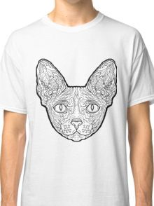 Sphynx Cat - Complicated Cats Classic T-Shirt - Image by  www.complicatedcoloring.com