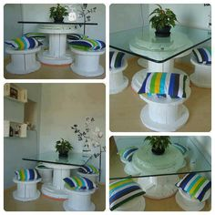 Old cable spool into furniture