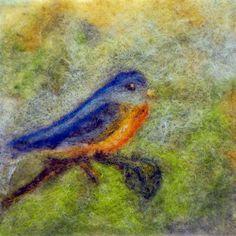 Bluebird needle felting pattern kit - great to needle felt on bag or framed picture