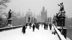 Prague - Charles bridge in winter
