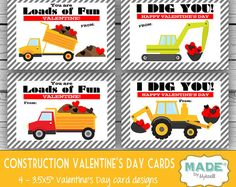 PRINTED Construction VALENTINE'S DAY Cards, Kids Valentines Day Cards, Valentines Cards, Kids Valentine, Printed Valentines, Holidays, Party