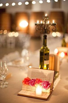 book wine bottle candle centerpiece - Google Search