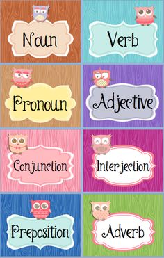 Owl themed posters to label a grammar wall