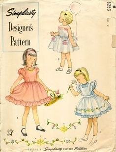 Vintage Little Girl Dresses ----This is the pattern Mama used to make mine and Angela's pinafore dresses the Easter all the girls at New Hope wore pastel dresses with organdy pinafores. I think it is still at the house. Precious  memories!