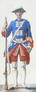 """PLANCHE ORIGINALE N°55 par BAUDOUIN - """" Exercice de l'Infanterie Françoise ordonné par le Roy le VI May M.D.CC IV 1757"""". (2)"""