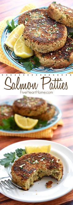 Salmon Patties - crunchy on the outside and tender on the inside, this flavorful, quick and easy recipe is a great way to get more brain-boosting, heart-healthy omega-3s into your diet!   Five Heart Home