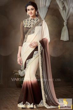 Get discount offer and sale on Diwali and New Year festive offer for wedding season 2015-2016 special off white coffee silk net designer party saree online collection with price. Buy heavy design of blouse and chiffon saree which is made up of embroidery and lace border. #sarees, #designersaree, #partywearsaree, #weddingsaree, #sareewithblouse, #embroiderysaree, #sareeonline More : http://www.pavitraa.in/store/party-wear-saree/ Call / WhatsApp : +91-76982-34040  E-mail: info@pavitraa.in