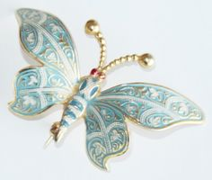 Vtg Brooch Pin Old Damascene Butterfly Figural Enamel Blue Red White Gold Tone