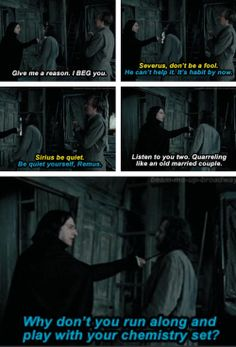 I will admit that this part always bothered me a bit because Remus, Severus, & Sirius are some of my favorite characters. I don't really like the fact that they argued, but I guess it's their personality sooo... I love PoA though.