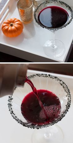 Black Magic Cocktail and 28 other Halloween Cocktail Recipes for a Crowd Halloween Cocktails, Theme Halloween, Halloween Goodies, Halloween Food For Party, Halloween Birthday, Halloween Treats, Halloween Stuff, Halloween Decorations, Cocktail Recipes For A Crowd