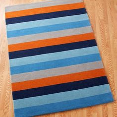 Kids' Rugs: Kids Multi Color Blue Bold Wide Stripe Rug in Patterned Rugs