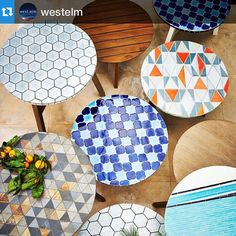 Once you go pattern, it is hard to walk away from pattern. (Sean's styling piece can be seen in April 2015 catalog) #Repost @westelm #patternonpattern #mosaictiled #coffeetables #westelm