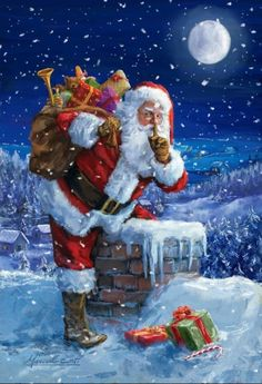 Santa Claus by the chimney to deliver presents on Christmas Eve Christmas Scenes, Old Fashioned Christmas, Christmas Past, Christmas Pictures, Winter Christmas, Christmas Crafts, Father Christmas, Christmas Artwork, Santa Pictures