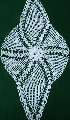 Vintage white Crocheted Table Runner Crochet Tray Cloth by Retroom