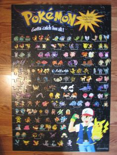 Pokemon Gotta Catch Them All 200 Piece 2'x 3' Poster Size 1999 ALL PUZZLE PIECES #MiltonBradley