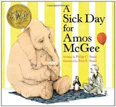 "Title: ""A Sick Day for Amos McGee"" Author: Philip C. Stead Illustrator: Erin E. Stead  Copyright Date: 2010 Amos woke up with a terrible cold and could not make it to work. His dear friends started to wonder where he was. The animals have an adventure to try and find where he is."