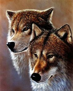 Two Wolves - painting by Doug Lehnhardt