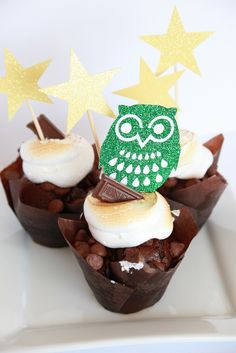 Rustic camping birthday party cupcake toppers, cute owl and stars on s'mores cupcakes.  Just click on the photo to shop at Melinda Bryant Party Boutique on Etsy.  // party supplies, party decorations, kids birthday party decor, #melindabryantphoto #kidspartyideas #partysupplies