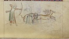 A lady hunting a stag, wearing a red kirtle or cote and a green sideless surcote. 1310-1320, England. Her surcote is unusually short for a woman's garment, and even more unusually split up the sides.