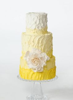 Love this cheerful Yellow Wedding Cake - and yay! no fondant  Would go nicely with sunflowers