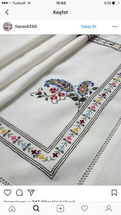This Pin was discovered by vus Cross Stitch Borders, Cross Stitch Rose, Cross Stitch Flowers, Cross Stitch Charts, Cross Stitch Designs, Cross Stitching, Cross Stitch Patterns, Chain Stitch Embroidery, Wool Embroidery