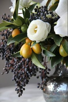 Fruit and flower arrangement # looks like an old oil painting