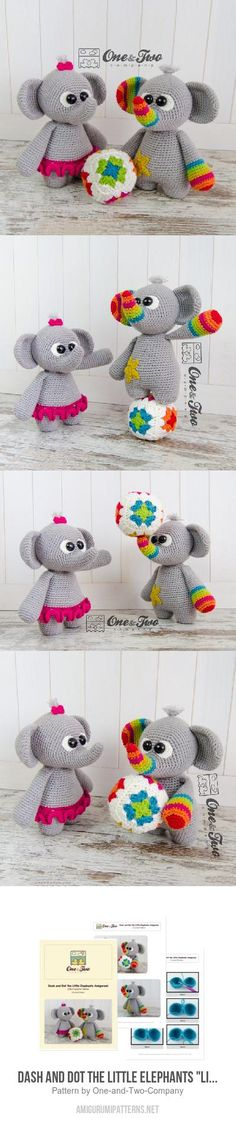 "Dash And Dot The Little Elephants ""Little Explorer Series"" Amigurumi Pattern"
