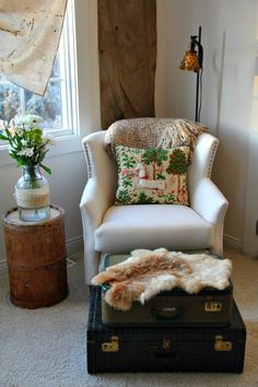12Fleamarket  - love this look and want to do it with my old chair and the Samsonite from mom