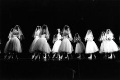 """Pittsburgh Ballet Theatre: Here's a Halloween-inspired #TBT from the eerie classic """"Giselle"""" and its otherworldly """"wilis""""...the ghostly maidens who may have originated the phrase, """"That gives me the willies!""""  Artists: Laura Desiree as Myrtha & PBT artists as the wilis Photo by: Ken Stiles, 1987"""
