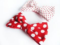 Polka Dot Hair Bows  Red and White Hair Clips  Fabric by FlosCaeli, $8.00