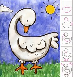 Drawings Ideas Art Projects for Kids: How to Draw a Goose - Hundreds of step by step drawing tutorials for elementary age students. Created by an art teacher created and tested tutorials for over 10 years. Art Drawings For Kids, Drawing For Kids, Easy Drawings, Art For Kids, Kid Art, Art Children, School Art Projects, Projects For Kids, Spring Projects