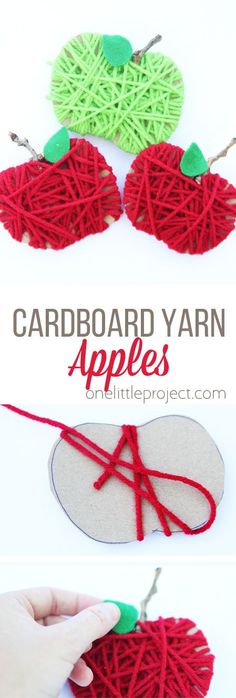 Make some yarn wrapped cardboard apples for a SUPER EASY fall kids craft!