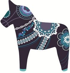 midnight dala horse Art Print by Polkip Swedish Christmas, Scandinavian Christmas, Dala Horse, Horse Horse, Norwegian Rosemaling, Scandinavian Folk Art, Art Populaire, Wooden Horse, Swedish Design