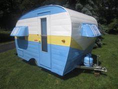 I love this guys work! Cool Campers, Happy Campers, Camper Caravan, Camper Van, Tiny Trailers, Camp Trailers, Vintage Travel Trailers, Vintage Campers, Vacation Trips