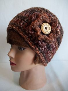 Ladies Choco Brown Chunky Crochet Beanie by KarensCrochetCottage