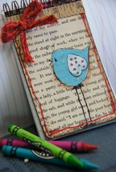 Stamped Bird Journal...How cute!  Made using a purchased notepad and decorative elements applied.  Could be done from scratch using the Bind it All or Cinch.