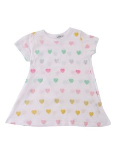 The girls' white crew neck tee from Wildfox Kids features a yellow, pink and green multicolour heart print design. Slogan Tee, Summer Essentials, Heart Print, Wildfox, Pink And Green, Print Design, Tees, Cotton, T Shirt