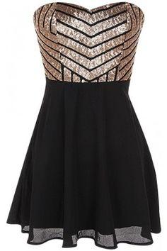 Sequin Chiffon Dress | USTrendy