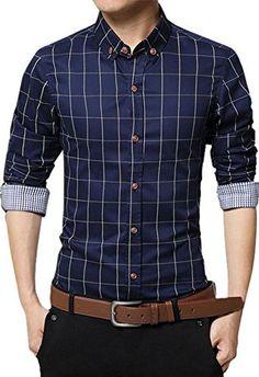 Zicac Men's Mercerized Cotton Slim Fit Plaid Shirt Button Down Shirts