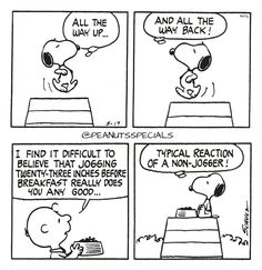First Appearance: May 17th, 1976 #peanutsspecials #ps #pnts #schulz #snoopy #charliebrown #wayup #wayback #difficult #believe #jogging #twentythree #inches #breakfast #typical #reaction #nonjogger www.peanutsspecials.com